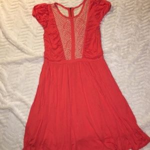 Modcloth Coral Dress w/ Lace Inlay